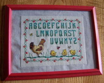 """Mother hen and chicks"" embroidery alphabet"