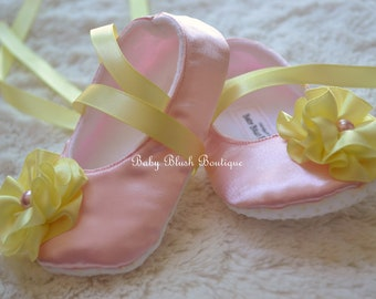 Baby Pink Satin Baby Shoes Soft Ballerina Slipper with Maize Ribbon ties & Flower - Pink Lemonade