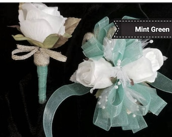 Prom Corsage Mint White Gold Wrist Corsage with Matching Boutonniere Artificial Flowers Ready to Ship