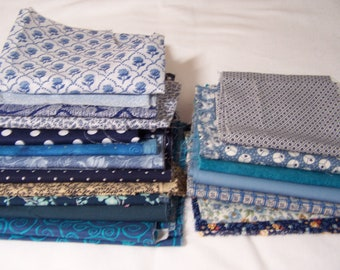 One pound of fabric scraps - fabric scraps - cotton fabric scraps - fabric bundle of scraps - fabric remnants - blue fabric scraps - fabric