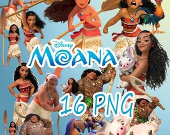 Moana Disney Digital Collage Set of 16 Printable Image clipart Download