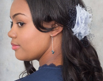 Swing Earrings - Midnight Teal - Swarovski Pearl And Chain