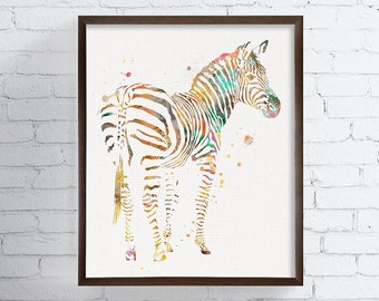 Zebra Wall Art - Zebra Art Print - Zebra Watercolor - Kids Print - Childrens Print - Nursery Art, Watercolor Animals Prints, Custom Color,