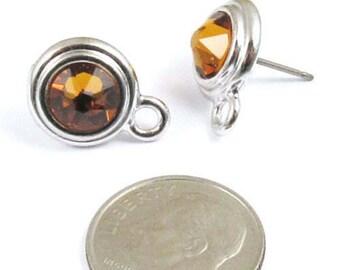 November Swarovski Crystal Birthstone Earring Posts-TOPAZ & SILVER (1 Pair)
