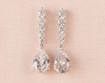 Crystal Drop Bridal Earrings, Wedding Earrings, Bridesmaids earrings, Bridal Jewelry, Vintage Style, Swarovski, Ansley Bridal Earrings