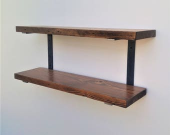 Double Wall Mounted Shelf Bracket Set - Holds two shelves - Raw C shaped steel brackets with hardware and instructions