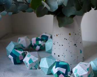 GARLAND#13 - Paper garland - Geometrical pattern, mint and pink