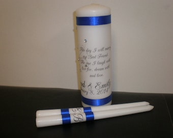 Personalized Unity Candle Set  with swirls and gem choice of verse