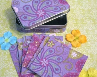 Mint tin Grape paisley decorated and 6 mini cards