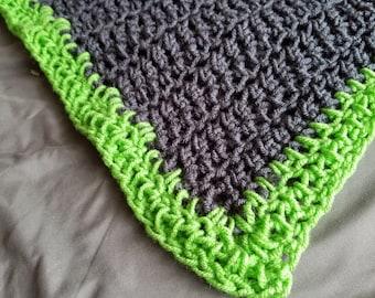 Charcoal Gray & Green Crocheted Afghan • Baby Blanket • Toddler Blanket • Lap Blanket • Couch Throw • Stroller • Handmade • Spring