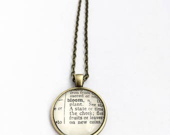 BLOOM Vintage Dictionary Word Pendant