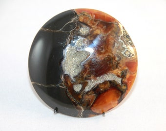 Natural Unikat Simbircitic Geode Cabochon, Ammonite with Silver Glittering Pyrite Geode  48x48x5mm, 122ct (57)