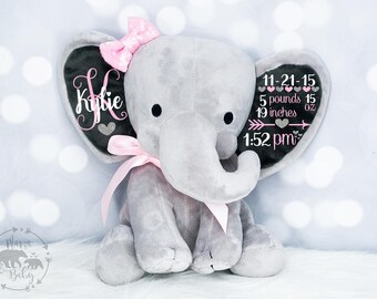 Baby Girls Birth Stat Elephant,  Keepsake Elephant, Birth Announcement Elephant, Elephant Plush, Newborn Gift, Personalized Elephant