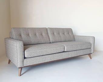 Mid Century Modern Danish Pillowback Sofa - Knoll style