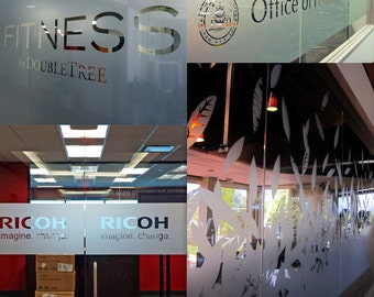 Custom Personalized Etched Vinyl Graphics for Glass - Office Window Frosted Look Sticker - Die Cut Blurry Effect Signs Decal + Decal Gift!
