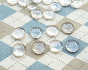 50 Stück 10mm Kristall Glas Kuppel rund Cabochon Cameo