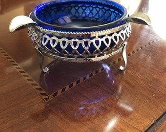 Cobalt Blue Vintage Ashtray (Makeup Accessory)