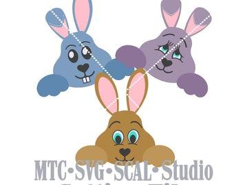SVG Cut File Easter Bunny Set #2 Bundle of 3 Scrapbooking  MTC SCAL Cricut Silhouette Cutting Files