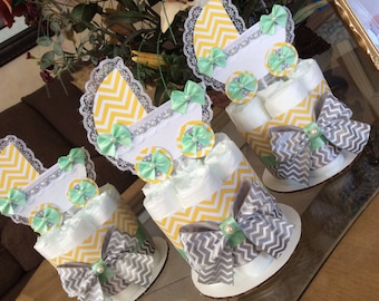 Neutral baby shower centerpieces/Light yellow, mint and grey baby shower centerpieces/Carriage baby shower centerpieces/Gender neutral baby