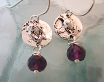 Handcrafted Silver Artisan Earrings, Chaparral Buds and Amethyst