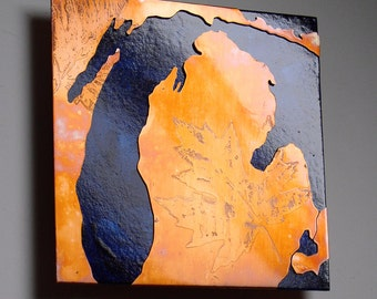 Copper Map Art of Lake Michigan, copper on blue 8 inches