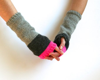 MORE COLORS Tipped Highlighter Mitts - Knit Fingerless Gloves - Wool Gloves - Striped Gloves - Long Gloves - Hand Warmers - Winter Gloves