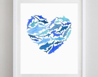 Shark Heart Watercolor Art Print