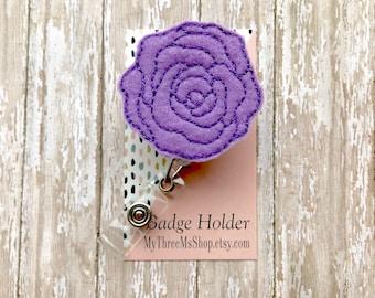 Purple Rose Nurse Badge Reel, Rose Feltie ID Badge Holder, Retractable Badge Reel, Badge Clip for Teachers, Name Tag Holder Badge Pull