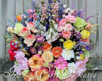 Summer Wreath, Deluxe English Cottage Garden Wreath, French Country Floral Wreath, Luxury Rose Garden Wreath, door hanging