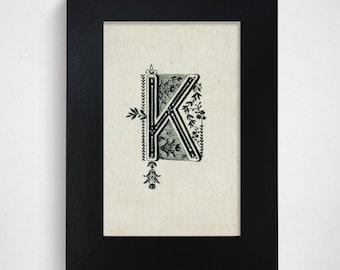 "SALE / Ready-to-Ship / Hand Drawn Original Monogram Letter K / 4x6"""