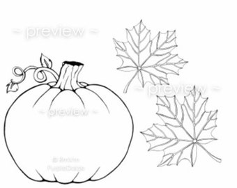Printable Color Page Digital Coloring Sheet Childrens Colour Zen Doodle Page Line Drawing Pumpkin Autumn Leaves Leaf JPEG Instant Download