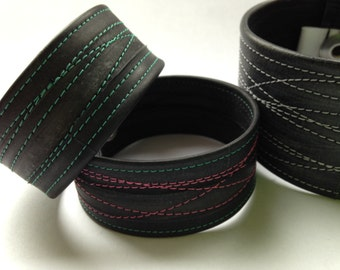 Wide recycled bicycle inner tube bracelet / cuff - upcycled vegan  bike jewellery