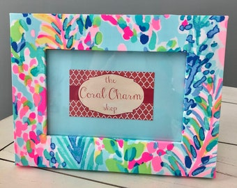 Lilly Pulitzer Inspired Catch the Wave  Fabric Wrapped Wooden Frame
