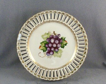 Vintage China Plate // Occupied Japan // CUAGCO China // Reticulated // Grape Design // Gold Highlights