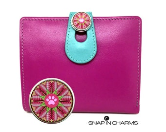 Women's pink leather wallet, Womens leather wallet, women wallet, snap button charms, turquoise wallet, woman wallet, Mandala wallet, Paw
