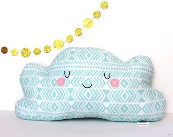 Cloud Pillow, Cloud Cushion, Blue and White Geometric Print - Great for Kids Rooms