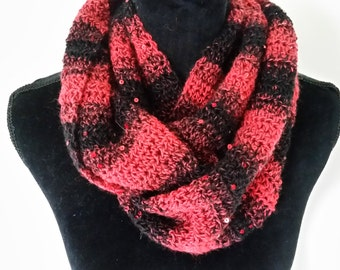 Scarf Cowl Infinity - Scarves for Women, Chunky Scarf, Sequin Brown Scarf, Ladies Scarf, Crochet Neckwarmer, Gift for Her, Winter Scarf
