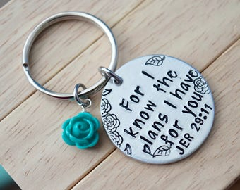"For I Know the Plans~Aluminum LIGHT WEIGHT~ Small 1.125"" Key Chain with Rose"