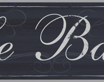 Le Bain Wood Sign, French Bath, Distressed Bath Sign, French Bath Decor