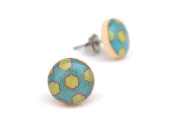 Turquoise Blue Stud earrings, Hypoallergenic earrings, Gift for her