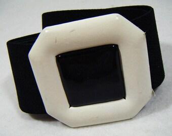 "Vintage 80's DAY-LOR Elastic Belt Black & White 25""~31"" Waist"
