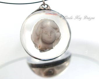 Frozen Charlotte Doll Head Necklace Soldered Cast Resin Dome Pendant Lorelie Kay Original