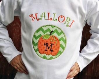 Personalized Pumpkin Applique Shirt or Bodysuit