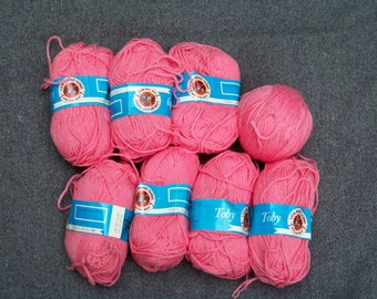 1970s 8 Balls of Bright Pink Toby Yarn by Lion Brand Sweater Mod Retro Vintage