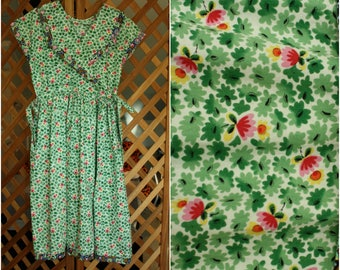 Very Cute Vintage 80s 90s Handmade Girls Green Floral Sailor Dress Mousefeathers Child Size 14 Retro Summer Dress