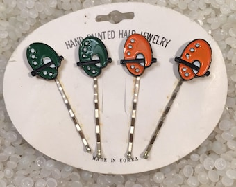 vintage hair pins, hair jewelry, bobby pins, RARE still on package ,  painters palette, forest green and orange pairs, artist gift