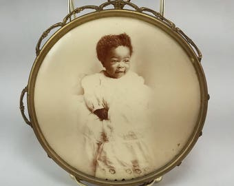 Vintage African American Baby Button Portrait by the Columbia Portrait Co. Chicago