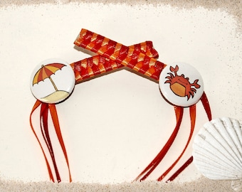 Braided Ribbon Hair Barrettes with Beach Umbrella and Sand Crab Buttons
