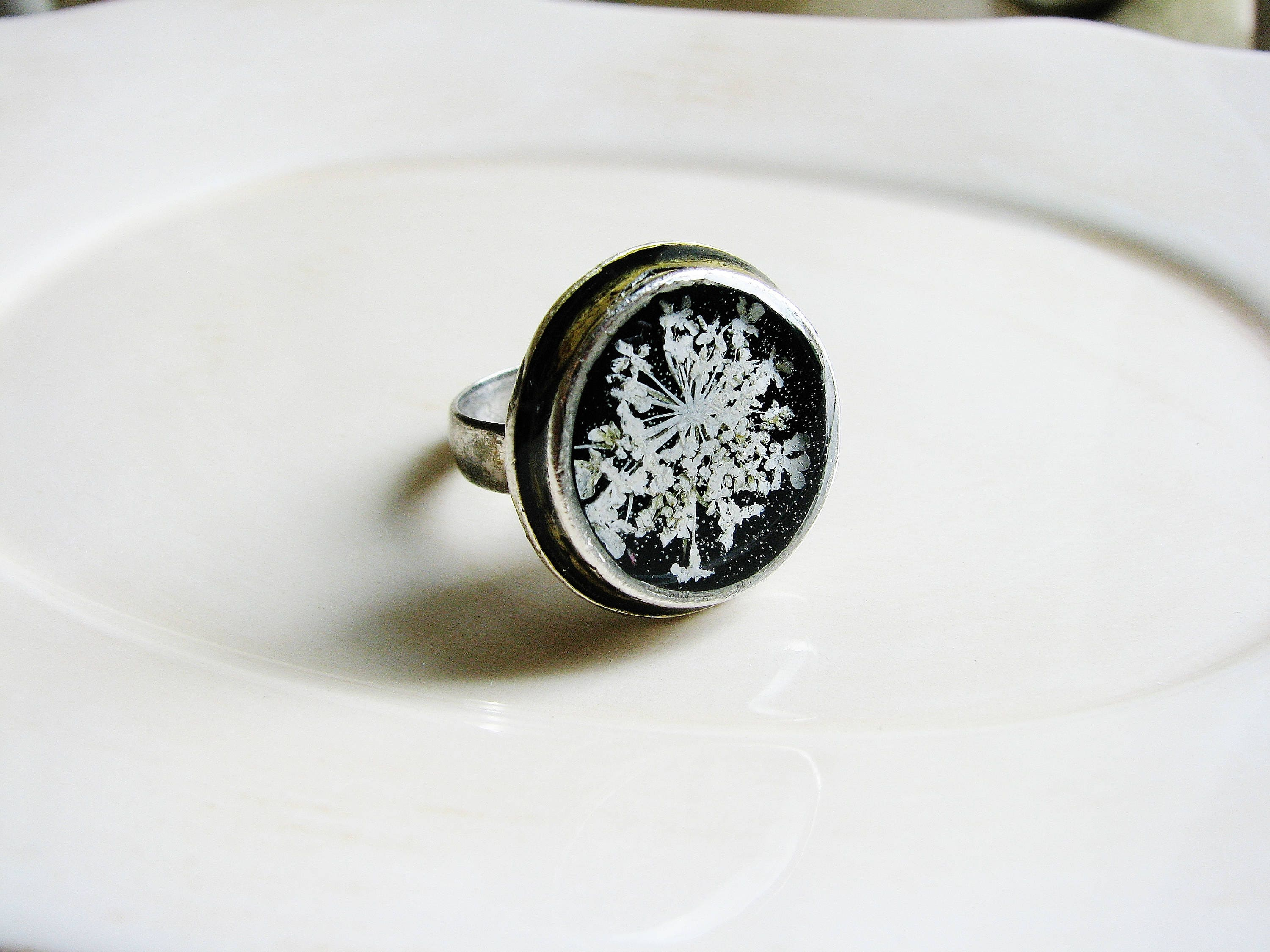 White Flower Ring Queen Annes Lace Ring Pressed Flower