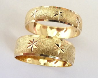Wedding rings set gold men and women wedding bands with stars